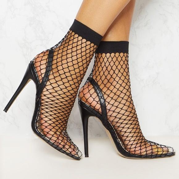 a0f4f1690c Cape Robbin Shoes | Black Fishnet Slingback Pointed Toe | Poshmark